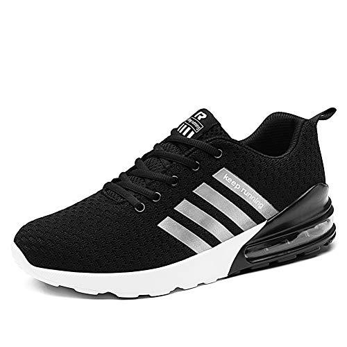Herren Laufschuhe Fitness straßenlaufschuhe Sneaker Sportschuhe atmungsaktiv Rutschfeste Mode Freizeitschuhe (Schwarz,44)