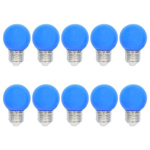 10X E27 Ampoules Couleur LED 1W Bleu LED Lampe 100LM Économie d'énergie Lampe Couleur PC Matériau Adapté aux Décoration