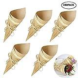 Gudotra 100pcs Boîtes de Cadeau Cône Bouquet Rétro Gâteau Kraft Papier Bouquet de Bonbons Sacs de Boîtes de Chocolat Corde de Chanvre de Mariage
