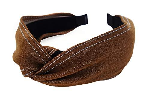 axy HR34b Stoff Haarreif mit Knoten - Vintage - Wunderschön Stirnband Haarschmuck (Jeansoptik - Braun)