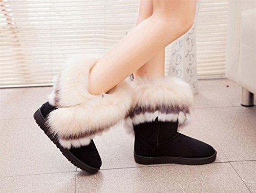 Très chic mailandaHalbshaft gefutterte bottes bottes fourrées femme court hiver fourrure bottes winterboots bottines - Schwarz-2
