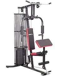 SportPlus Kraftstation/Homegym mit Gewichtsverstellung von 4,5 bis 55 kg, hochwertiges Seilrollensystem mit Kugellagern, inkl. Brustpresse Lat-Zug, Beincurl- und Armcurleinheit