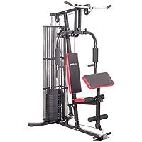SportPlus Multiestación Homegym/Estación muscular ajuste de peso de 4,5 hasta 55 kg, sistema de poleas cojinetes de bolas, incl. barra latissismus, chest press, curl de piernas y brazos