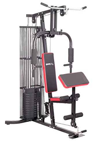 #SportPlus Kraftstation/Homegym mit Gewichtsverstellung von 4,5 bis 55 kg, hochwertiges Seilrollensystem mit Kugellagern, inkl. Brustpresse Lat-Zug, Beincurl und Armcurleinheit#