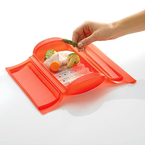 Wuudi Brotdose mit Silikongel-Überzug für Mikrowelle, Backofen, Dampfgarer, Silikon, Thermostabil, für Lunchbox, Küchenbedarf, Lebensmittelbox, faltbar, Salatrührbox rot (Dampfgarer Mikrowelle Silikon)