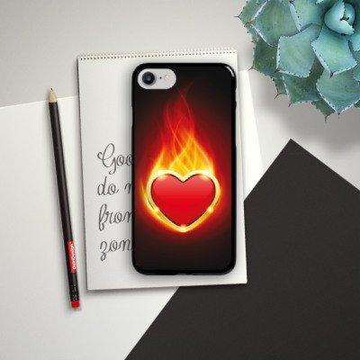 Apple iPhone X Silikon Hülle Case Schutzhülle Herz Liebe Flammen Hard Case schwarz