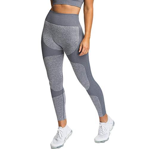 MOTOCO Frauen Yoga Hosen Hohe Taille Hüfte Sport Fitness Pilates Hosen Sexy Strumpfhosen Leggings(L,Grau)