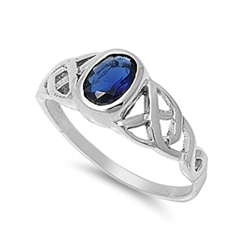 Ring aus Sterlingsilber mit Zirkonia - Keltisches Design (14k Gold Ring Stein Für Blau Männer)