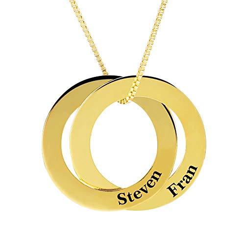 rte russische Ring Name Anhänger Halskette, benutzerdefinierte Kreise Disc Schmuck mit 2 Namen ()