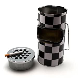 "GoGifts Ashtray cum Dustbin (4"" x 4.3"" x 8"", Black & Grey)"