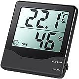 AMIR Hygrometer Thermometer, Digital Luftfeuchtigkeit Messer Thermometer Hygrometer mit Min/Max und LCD Schirm für Schlafzimmer, Büro, Wohnzimmer, usw.(Schwarz)