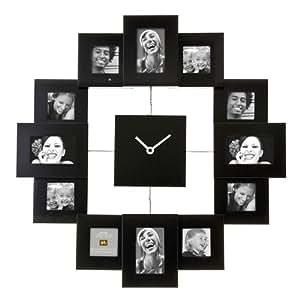 Present Time Modern Design Personalized Custom Photoframe Black Wall Clock