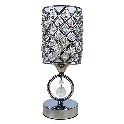 WXCCK Lámpara De Mesita De Noche De Cristal, Lámpara De Cristal De Diseño Elegante Al Lado, Lámparas De Diseño Compacto para Sala De Estar Habitación Familiar Comedor (Plateado)