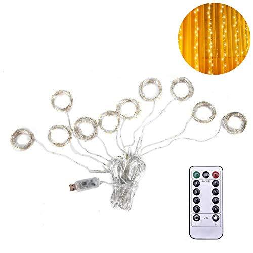 r, USB-Multi Funktions-3 x 3 Meter LED-Vorhang-Schnur-Lichter warmes weißes Vorhang-Eiszapfen-Lichter mit 8 Modi, vollkommen für Hochzeits-Hausgarten-Partei-Feiertags-Dekoration ()