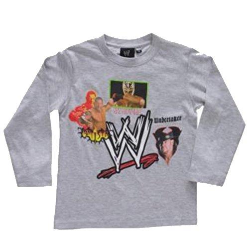 WWE lucha libre–Tee Shirt Manga Larga Catch WWE–6años, 8años, 10años, 12años gris 6 años