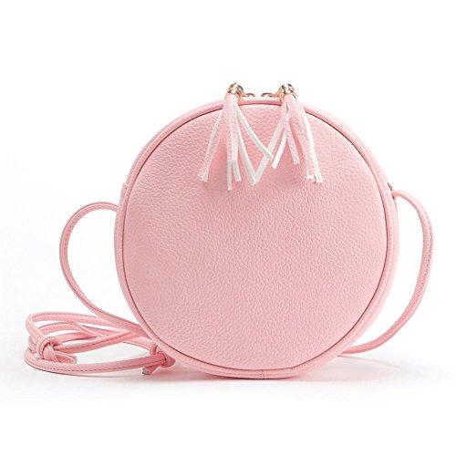 Umhängetasche,Amlaiworld Frauen Mädchen Runde Leder Handtasche Umhängetasche Messenger (rosa)
