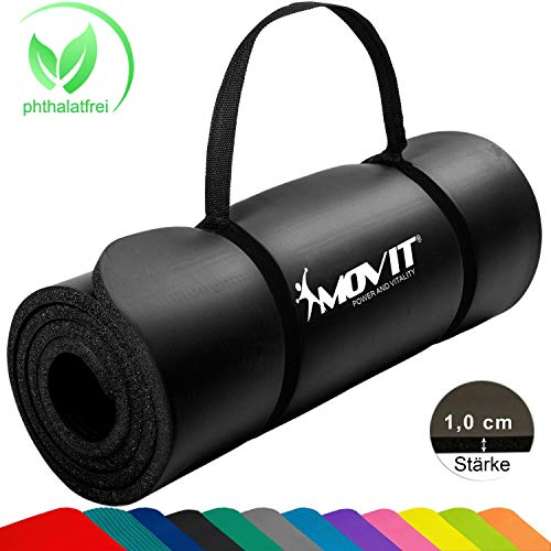 Movit Pilates Gymnastikmatte, Yogamatte, phthalatfrei, SGS geprüft, 183 x 60 x 1,0cm, Yoga Matte in Schwarz