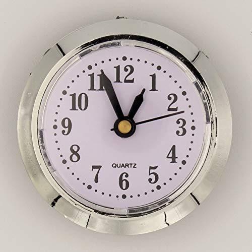 Unbekannt Einbau-Uhr Einsteckuhrwerk Einsteckwerk Einbauuhr Modellbau-Uhr Ø 50 mm Silber *ARABISCH* Nr.22 (weiß-Silber)