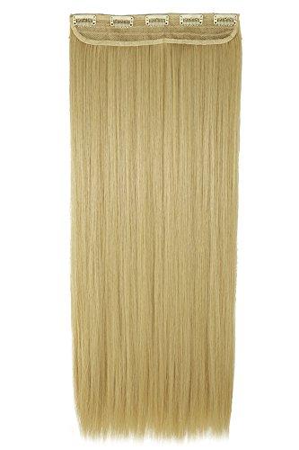 One piece extension capelli clip una fascia capelli lunghi lisci 3/4 full head larga 25cm lunga 65cm vari colori, biondo dorato mix biondo chiarissimo