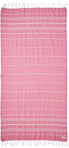 Bersuse 100% Cotone - Asciugamano Turco Anatolia - Peshtemal Fouta per Bagno e Spiaggia - Pestemal Classico Striato - 95 X 175 cm, Rosa