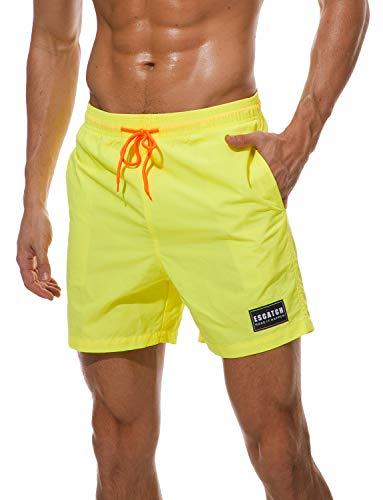 HAINE Badeshorts für Männer mit Innenhose | 10+ Farben & Kurz & Schnelltrocknend Badehose für Herren Jungen | Trainingshose für Sport Laufen Schwimmen Strand (Gelb-XL) -
