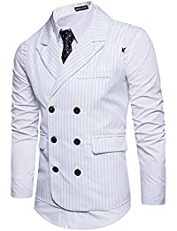 Leisure Hombre chaleco de traje blazers waistcoat sin manga Rayas formal Boda  Ceremonia b0a147a455bf