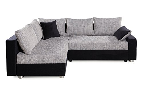 Collection AB Piacenza Ecksofa, Stoff, schwarz/grau, 161 x 224 x 83 cm