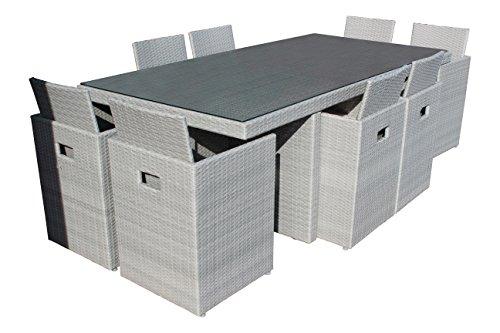 DCB GARDEN Encastrable avec Table/8 Fauteuils Gris Clair 210 x 105 x 74 cm PVC-8-GRIS+