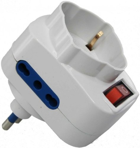 Techly Adapter with Rotating Plug 16A IUPS-PCP-2R - power extensions (White)