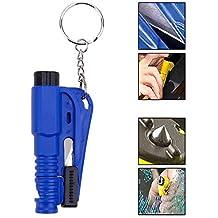 Ociodual Herramienta de Rescate Seguridad Rompe Cristales Corta Cinturon Silbato Azul