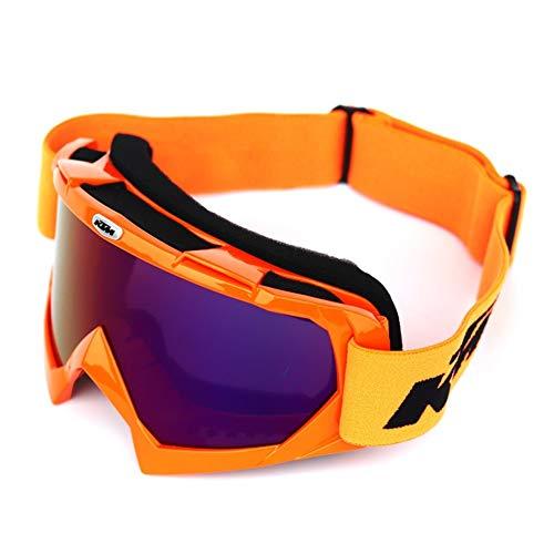 Whhhherr Skibrille, Motorradhelmbrille mit Abnehmbarer Gesichtsmaske CS (Farbe : Orange Frame/Colorful)
