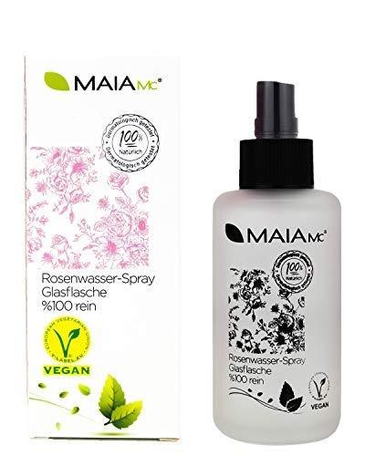 Bio Rosenwasser-Spray in der Glasflasche - 100{bd69058f35f45c581351f6b093ff2663172917830cb810a4a7ca03e9f7ba7297} rein von MAIA MC - VEGAN - Gesichtswasser 100 ml - MIT Vitamin C - OHNE Zusatzstoffe - Naturkosmetik - gegen Mitesser- unreine Haut - Poren verkleinern
