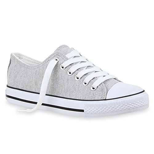 Stiefelparadies Sportliche Damen Low Sneakers Bequeme Freizeit Schuhe 69819 Hellgrau Agueda 44 Flandell
