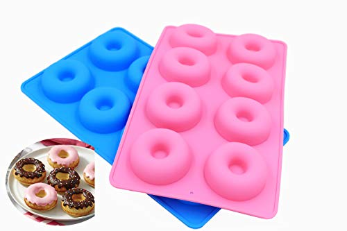Poneca Silikonform Donut Backform 2 Stück 8 Hohlräume Silikon für Seife, Kuchen, Brot, Cupcake, Käsekuchen, Cornbread, Muffin, Brownie, Kuchen (2 Stück) Brownies Muffin Pan