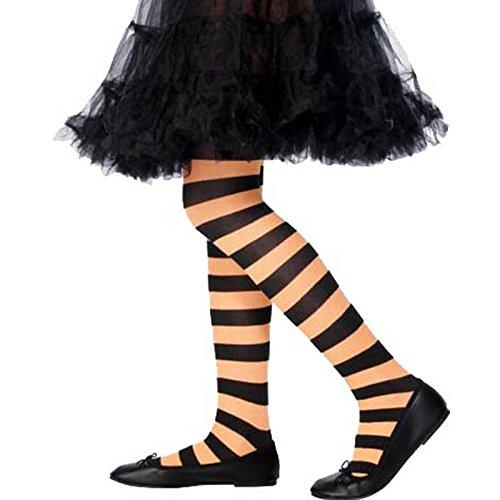 Smiffys, Kinder Mädchen Gestreifte Strumpfhose, Alter: 6-12 Jahre, Orange und Schwarz, (Gestreifte Ideen Kostüm Strumpfhose)