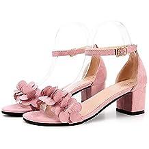 Sandali eleganti rosa con tacco a blocco per donna Minetom AX0v1
