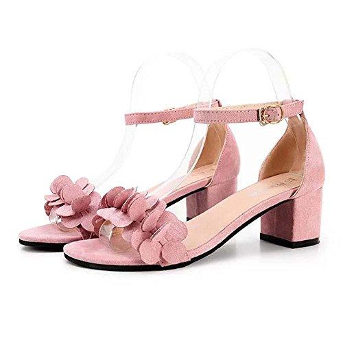 Smrbeauty elegante sandali con tacco alto donna,estivi boemo scarpe con sandali donna , ragazze i fiori adornano il fermaglio sandali piatti da donna sandali (35, rosa)