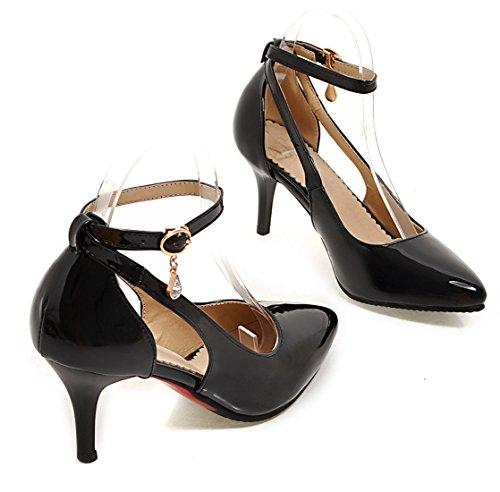 YE , Bride cheville femme Schwarz(7cm heels)