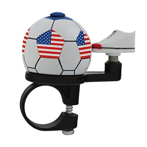 75954326244a M-Wave Stars N-Stripes Soccer Bicycle Bell, Red/White/Blue by Cycle Force  Group, LLC