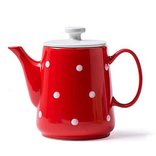 Kaffeekanne Kaffeebereiter Wasserkessel Kaffee Topf Isolierkanne Teekanne French Press Espressokocher Kaffee Thermos Wellen-Punkt-großer Keramik-kreativer Haushalt GAOFENG (Farbe : Red) (Große Press Keramik-french)