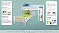 Bunk bed / Children's bed Phillip solid beech wood, in a white paint finish, with shelf, includes roll-up grille - 90 x 200 cm
