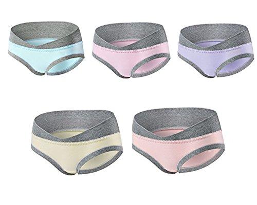 Annein 5er Pack Damen Umstandsmode Slip Schwangerschafts Baumwolle Unterwäsche Niedrig Taille U-förmige Unterhose Schlüpfer Panty für Unterhalb des Babybauchs (6, L)