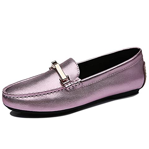 Guciheaven Delicate Women's Leather Loafers with a piece of metal decoration Goat Hide