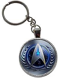 star trek charm figure logo keyring spock key ring kirk uhura vulcan voyager chekov ship