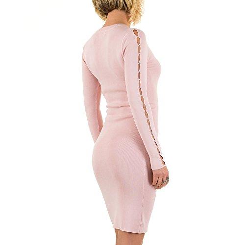 Geripptes Stretch Kleid Für Damen bei Ital-Design Rosa