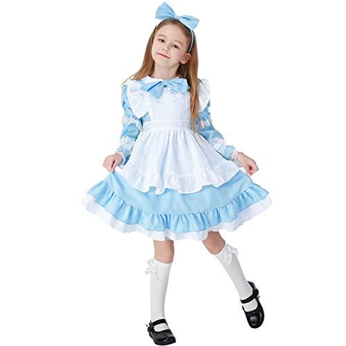 LOLANTA Mädchen Halloween Maid Kleid Kostüm Kinder Mädchen Cosplay Kostüm Uniform (blau, 128/134) (Alice Mädchen Kostüm)