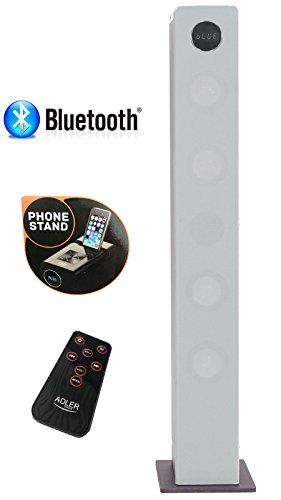 2.1 Sound Tower | Lautsprecherturm | Musikanlage | Musiksystem | Kompaktanlage | Bluetooth Hi Fi Musikanlage | Soundsystem | USB | SD- Card | Fernbdienung | Turmlautsprecher (Silber)