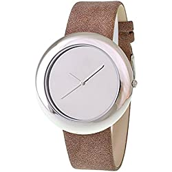 RITAL Women Wrist Watch Fashion Design Simple Clean Dial Silver Case and Brown Strap Extremely Fashionable Wrist Watch for Women and Girls