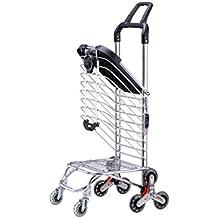 IWTGF Carro de Compras Carretilla portátil Plegable Puede Sentarse carritos para el hogar