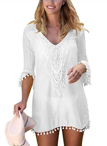 EDOTON Strandkleider, Frauen Bluse Kleid häkeln Pom Pom Trim Strand Tunika Badeanzug (XL, Weiß) Trim Kleid